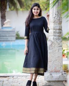 Minakshi - Black Mangalgiri Midi Dress with Zari Border Ethnic Dress, Indian Ethnic Wear, Red Midi Dress, Floral Midi Dress, Simple Lehenga, Short Frocks, Semi Formal Wear, 10 Most Beautiful Women, Ethnic Looks
