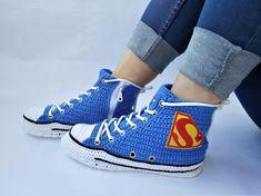 87d2cc414be71b Crochet Converse Shoes Blue Authentic DC Comics- Superman Chuck Taylor All  Star Womens Mens Canvas Sneakers Hi Tops