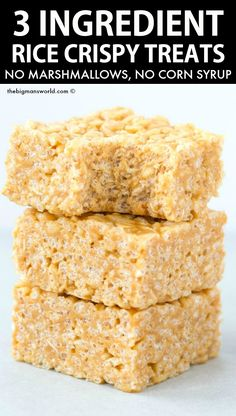 3 Ingredient Healthy Peanut Butter Rice Crispy Treats made with no marshmallows, no butter, and no corn syrup! A 5 minute recipe LOADED with peanut butter flavor! Peanut Butter Crispy Treats, Homemade Rice Crispy Treats, Chocolate Rice Crispy Treats, Rice Crispy Bars, Peanut Butter Rice Crispies, Rice Krispy Treats Recipe, Healthy Peanut Butter, Rice Krispie Treats, Rice Crispy Recipe