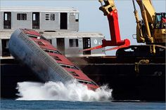 NY subway cars being dumped into the Atlantic Ocean off the coast of Delaware.   Flickr - Photo Sharing!