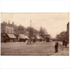 London East: East India Dock Road, looking East, Poplar Postcard on eBid United Kingdom East End London, Old London, Irish Catholic, Tower Hamlets, London History, Greater London, London Street, Old Pictures, Ancestry