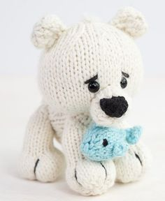 Free Knitting Pattern for Polar Bear Toy - Learn how to knit this 8 inch polar bear with cute critter expert, Megan Kreiner at Creativebug. The bear and fish are made with chunky yarn, so the knitting is fast and easy. The pattern and class are free with a free trial at Creativebug.