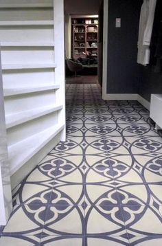 Rosa Beltran Design {Blog} cement concrete encaustic tile moroccan morroccan morocco foyer floor graphic geometric entry hall entryway black walls granada moorish fez patterned