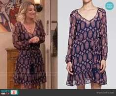 Penny's navy and pink printed long sleeve dress on The Big Bang Theory.  Outfit Details: https://wornontv.net/57343/ #TheBigBangTheory