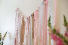 ribbon garland ... combine ribbon, burlap and lace for a shabby chic looking garland to hang behind a sweet table or food bar