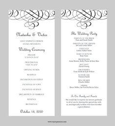 Wedding Program Template  Flourish Calligraphy by MyExpressionShop, $7.95