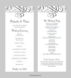 Wedding Program Template  Flourish Calligraphy by MyExpressionShop, $7.95