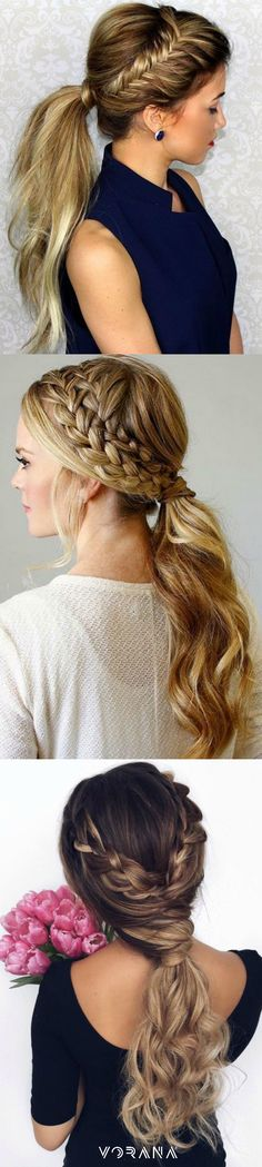 19 Pretty Ways to Try French Braid Ponytails - Pretty Designs Bride Hairstyles, Pretty Hairstyles, French Braid Ponytail, Corte Y Color, Great Hair, Bridesmaid Hair, Hair Today, Hair Looks, Hair Lengths