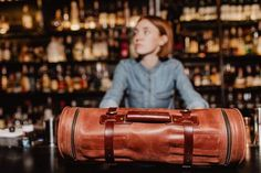 Finally we got to the bars 🔥⚒✌️ Bartender Roll / Work Style Kruk Garage Leather Roll, Leather Tooling, Tan Leather, Barista, Cigar Travel Case, Home Bar Accessories, Portable Bar, Hand Wax, Leather Apron