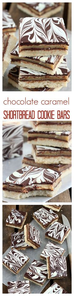 Buttery shortbread topped with ooey gooey caramel and silky ganache, these layer cookie bars will cure any cravings. Put your stretchy pants on, you'll need them while devouring these rich chewy bars