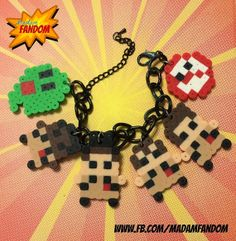 GHOSTBUSTERS Charm Bracelet (Perler Beads) available from MadamFandom on etsy ***This is an original Madam Fandom design*** #Ghostbusters