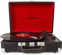 CROSLEY Cruiser Portable Turntable - Black, Black Price: £ 61.75 Enjoy the authentic, rich sound of vinyl in an all new, easily transportable carry-case with the Crosley Cruiser Portable Turntable in distinguished black. Three-speed playback Choose to play 78s, 33s, or 45s all on one device with this three-speed Crosley record player, as well as having the option of plugging in your...