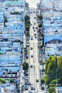 View Of Street From Telegraph Hill, San Francisco By Mitchell Funk www.mitchellfunk.com