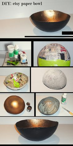 Top 30 Crafty Paper Mache Projects You Can Try For YourselfDIY Gold Papier-Mache Bowl-want to try this!Recycled Paper Bowl w/LidPaper Bowl: This isn't too difficult at all and it looks spectacular.paper bowl very good site Paper Mache Bowls, Paper Bowls, Diy Projects To Try, Diy Crafts For Kids, Home Crafts, Recycling Projects, Art Projects, Paper Mache Projects, Paper Mache Crafts