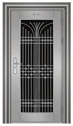 steel door for keeping the kids out. I wonder if it would work. Gate Wall Design, Home Gate Design, Grill Gate Design, Window Grill Design Modern, Balcony Grill Design, Front Door Design Wood, Iron Gate Design, Door Design Interior, Wooden Door Design