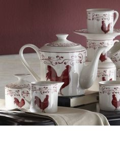 Coffee Set, Blue Toile Rooster 17-Piece from Through the Country Door®