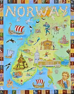 .Special maps of old with different crafts in different municipalities Norway
