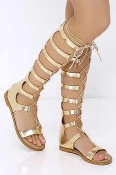 90995df4435 Chinese Laundry Galactic Gold Tall Gladiator Sandals at Lulus.com! Lace Up  Gladiator Sandals