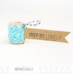 (baklava packaging) 10 yards Aqua and White Bakers Twine hand wound on a cute mini wooden spool. $3.50, via Etsy.