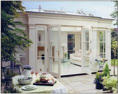 Another beautiful orangery conservatory garden Outdoor Rooms, Outdoor Living, Orangerie Extension, Orangery Conservatory, Gazebos, Pergola, Sweet Home, House Extensions, Glass Garden