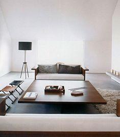 minimalist interior by JOHN PAWSON architects. Baron House. sofadesk by Pawson for draide. Poul Hundevad- Guldhøj stool. bddw floor lamp.: