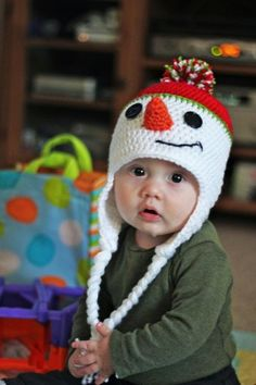 Homamade Baby Snowman Earflap Pompon Hat Crochet Pattern 2015 Christmas - Christmas Gifts, Christmas Crafts - It's magic - crochet snowman pattern free to make your decor awesome by d3adgirl
