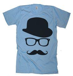 Mens moustache Hat Wayfarer T Shirt - T-Shirt American Apparel - XS S M L XL et XXL (couleur 28 Options)