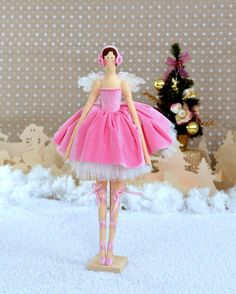 Ballerina. Pink marshmallow. Tilda. Interior doll. Cloth doll. The Nutcracker