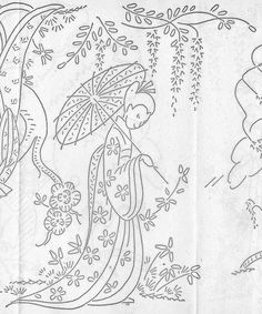 geisha embroidery pattern