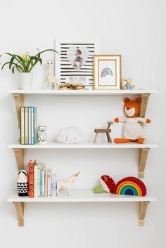 Emma's Nursery from Mama Jots - Project NurseryCreative nursery storage for shoesBaby Girl's Neutral Nursery - Gold Lion StyleNursery storage idea: DIY floating shelves for books and diaper changing Nursery Wall Decor Nursery