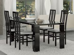 """Status Armonia Dining Table - Black wooden dining table. Base - legs. Made in Italy. Dimensions: 74.5"""" x 41"""" x 29.5""""."""