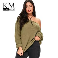 72b33270ed1 2017 Big Size New Fashion Women Clothing Casual Solid Sexy Sweater Cold  Shoulder Loose Plus Size