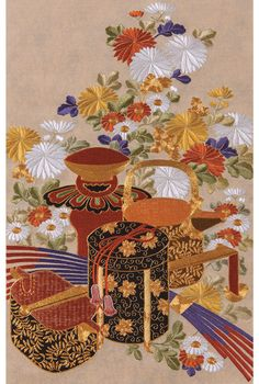 The Beauty of Japanese Embroidery - Embroidery Patterns Chinese Embroidery, Paper Embroidery, Crewel Embroidery, Beaded Embroidery, Embroidery Needles, Japanese Quilt Patterns, Japanese Quilts, Japanese Art, Hand Embroidery Projects