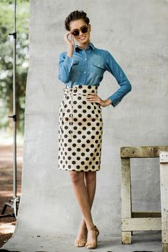 Denim and dots.