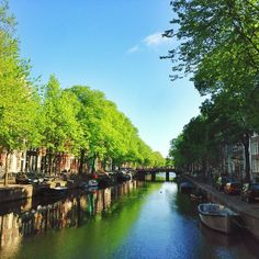 Exquisite blues and greens reflected in an Amsterdam canal. Photo courtesy of shaheensz on Instagram.