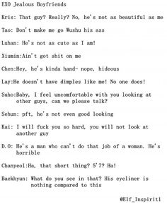 I can just imagine Tao handing over a purse to you or something and running off to kick the guys butt
