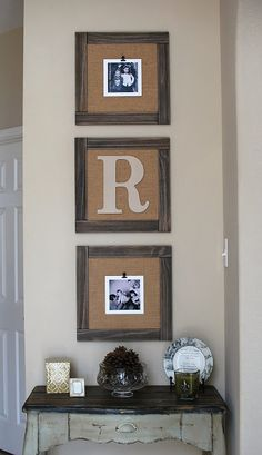 diy Barnyard Trio Frames Home Decor Project- could be done with 12x12 scrapbook paper frame and cork board put in foyer/entry