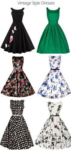Vintage Style Dresses Sale On Pretty Outfits, Pretty Dresses, Beautiful Dresses, Cool Outfits, 50 Fashion, Look Fashion, Fashion Dresses, Catwalk Fashion, Vintage Dresses