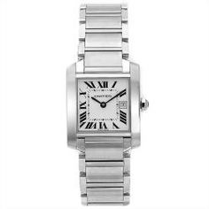 @Overstock - This classic timepiece by Cartier features a stainless steel case and stainless steel bracelet. A white dial, precise quartz movement and a water-resistance level of up to 30 meters finish this fine timepiece.  http://www.overstock.com/Jewelry-Watches/Cartier-Womens-Tank-Watch/6278007/product.html?CID=214117 $4,261.99