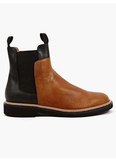 Maison Martin Margiela 22 Men's Contrasting Vegetable Tanned Leather Boots @ oki-ni $738.41