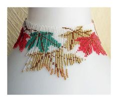 Pattern seed beaded Autumn leaves necklace instructions beading flat square stitch loom choker Tutorial bead beads beading necklace fringe