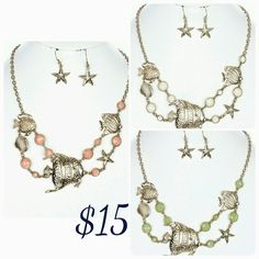 Sea-life fish and starfish jewelry set. Great for wearing to the beach, casual summer wear or simply everyday fashion. This is for the sea lover in you!! Order Now by chucking image or commenting.  Visit us at www.chiclyfabulous.com