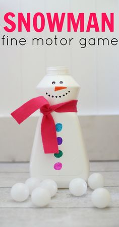 Fill the Snowman Fine Motor Game for Toddlers:  Such a fun and simple winter activity!