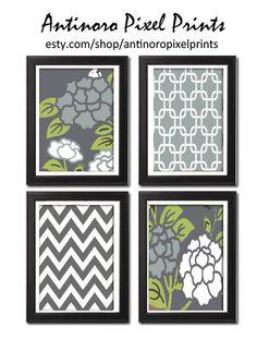 Unframed Vintage Modern Flowers Art Print  - Set of Four 5x7 Print Featured in Blue Grey Green White. $30.00, via Etsy.