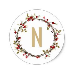 Hawthorn Wreath Monogram Stickers - holidays diy custom design cyo holiday family