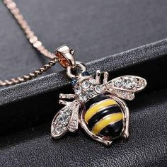Necklaces & Pendants Women Rhinestone Little Bee Pendant Animal Bumblebee Crystal Necklace Chain Rose Gold Pendant, Crystal Pendant, Crystal Jewelry, Crystal Necklace, Pendant Necklace, Mens Chain Necklace, Cute Necklace, Bumble Bee Necklace, Golden Jewelry