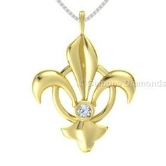 This is angelic white diamond fleur de lis  pendant crafted with 14k white gold 0.10 carat weight with pristine quality natural white diamond comes in yellow rhodium set in 14k yellow gold. Centred with beautiful natural white diamonds and crafted with 14k yellow gold.