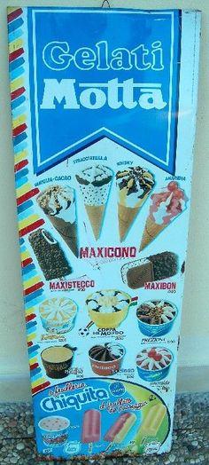 Tabella motta gelati latta anni 80 rara vintage insegna prezziario lire cartello