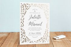 """Garden Romance"" - Floral & Botanical, Rustic Foil-pressed Wedding Invitations in Golden by carly reed walker."