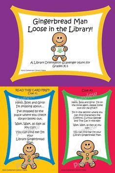 This is a fun back to school library orientation activity for your younger elementary students and is based on the fabulous book The Gingerbread Man Loose in the School by Laura Murray!  This scavenger hunt aligns with the following Common Core Standards:  Kindergarten: SL.K.1, SL.K.2, SL.K.6  First Grade: SL.1.1, SL.1.2, SL.1.3  Second Grade: SL.2.1, SL.2.2, SL.2.3  Third Grade: SL.3.1, SL.3.3, SL.3.6 $